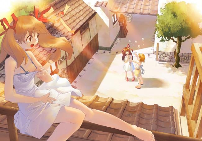 Аниме картинки - barefoot, blonde hair, bubbles, cleavage, dress, masturbat